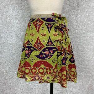 Anthro Anna Sui Three's a Charm Wrap Skirt